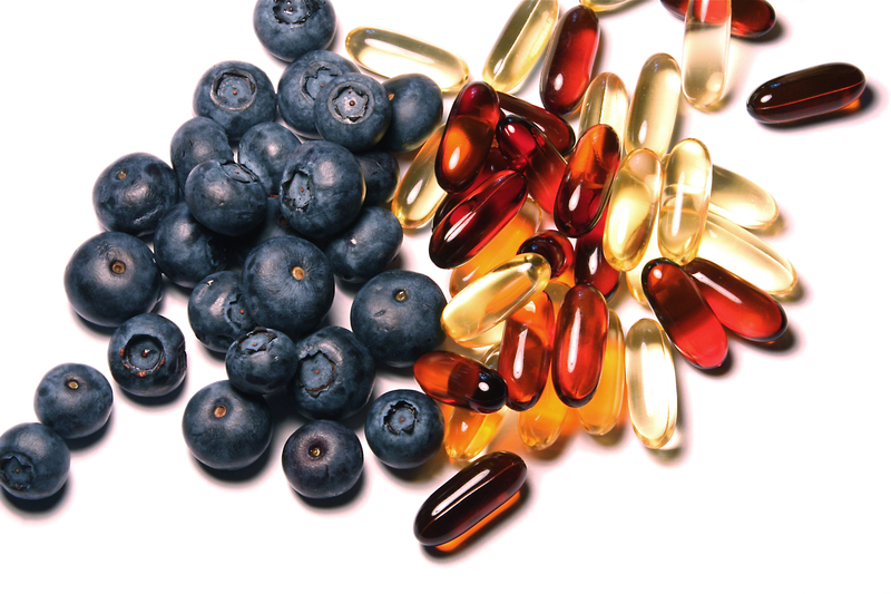 natural berries and supplement capsules